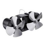 New 8 Blades Twin Head Fireplace Fan Wood Burner Fan Circulating Eco Heat Powered Wood Stove Fan
