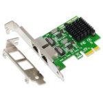 New SSU 8120-T2 2 Port 1000Mbps Gigabit Ethernet PCI-E Network Card PCI Express RJ45 LAN Adapter Expansion Card for Desktop PC