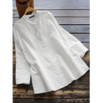 New Women Cotton Pure Color Button Down Long Sleeve Blouse
