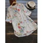 New Women Floral Print Button Down HighLow Hem Blouse