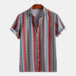 New Men Ethnical Stripe Print Short Sleeve Relaxed Shirts