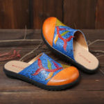 New SOCOFY Handmade Genuine Leather Splicing Slip On Flat Sandal