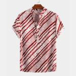 New Mens Vintage Diagonal Stripe Turn Down Collar Casual Shirts