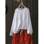 New Women Crew Neck Pockets Blouse Casaul Loose Shirt