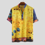 New Men Jellyfish Print Half Sleeve Henley Shirts