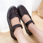 New Women Breathable Hollow Out Microfiber Flats