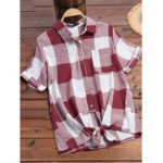 New Women Casual Plaid Button Down Turn Down Collar Shirts