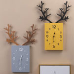 New 50 x 35cm Simple Wooden Antler Wall Clock Roman Numerals Wall Home Office Decor
