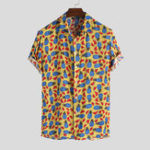 New Men Pineapple Print Short Sleeve Hawaiian Shirts
