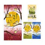 New Japanese Doorway Cartoon Interior Hanging Curtains Noren Owls Luck Tapestry Room