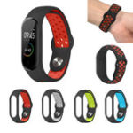 New Bakeey Silicone Pore Dual Color Stainless Steel Buckle Replacement Watch Band for Xiaomi Mi Band 4&3 Smart Watch