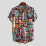 New Mens Fashion Multi Printed Cotton Breathable Shirts