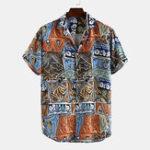 New Men Tribal Graphic Print Short Sleeve Shirts