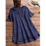 New Women Pure Color HighLow Hem Button Down Blouse