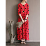 New Women Loose Polka Dot Printed Half-Sleeve O-Neck Maxi Dress