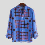 New Men Tribal Pattern Print Long Sleeve Shirts