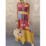 New Summer Sleeveless Button Layered Floral Print Long Maxi Dres