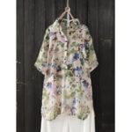 New Women Button-Down Floral Print Short Sleeve Blouse