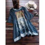 New Short Sleeve Floral Print Irregular Hem O-neck T-shirts