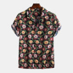 New Mens Summer Funny Floral Printed Short Sleeve Casual Shirts