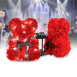 New Teddy Flower Bear PE Foam Rose With LED String Light For Valentine's Day Gifts Decor