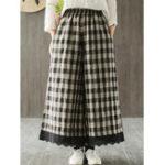 New Wide Leg Women Plaid Elastic Waist Pockets Pants