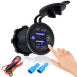 New P2-S Touch Switch 2.1A+2.1A Dual USB Car Motorized Modified Charger Mobile Phone 12-24V