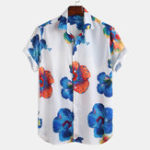 New Men Oriental Floral Print Short Sleeve Relaxed Shirts