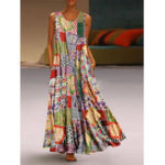 New Vintage Floral Geometric Print Sleeveless Crew Neck Dress