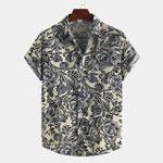New Men Printed Cotton Summer Casual Turn Down Collar Short