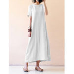 New Women Short Sleeve O-neck Solid Maxi Dress