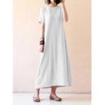 New Women Short Sleeve O-neck Solid Maxi Dress