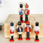 New 6Pcs 12cm Wooden Nutcracker Soldier Desktop Decorations Collections Birthday Gift for Friends