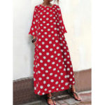 New Women Polka Dot Print Crew Neck Long Sleeve Maxi Dress