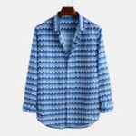 New Men Printed Button Turn Down Collar Long Sleeve Shirts