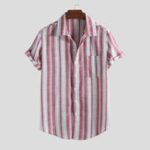 New Men Cotton Vertical Stripe Short Sleeve Relaxed Shirts