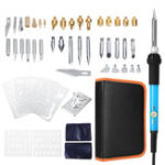 New 60PCS 60W 110V Wood Burning Pen Set Tips Stencil Solder Iron Tool Pyrography Crafts Kit