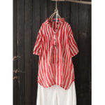 New Women Lapel Striped Button-Down Short Sleeve Blouse