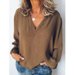 New Women Long Sleeve V Neck Casual Loose Solid Blouse