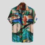 New Mens Creative Graffiti Printing Vacation Hawaiian Shirts