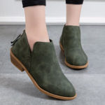 New Women Fashion Pure Color Zipper Ankle Boots