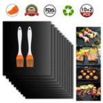 New 12Pcs BBQ Grill Mat Miracle Non Stick Barbecue Teflon Fiber Reusable BBQ Mat with 2 Brush