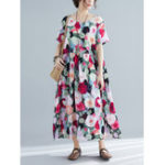New Women Casual Floral Printed O-Neck Short Sleeve Dress