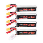 New 4Pcs URUAV 7.6V 550mAh 80C/160C 2S HV 4.35V Lipo Battery XT30 Plug for FPV Racing Drone