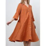 New Women Solid Color Loose Button V-Neck 3/4 Sleeve Mini Dress