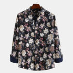 New Men Printed Cotton Large Size Casual Long Sleeve Shirts