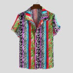 New Men Zebra Cow Mixed Pattern Print Short Sleeve Shirts