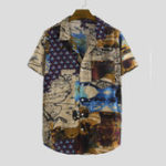 New Men Cotton Retro Style Printed Chest Pocket Short Sleeve