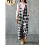 New Women V-Neck Check Side Pockets Spaghetti Strap Jumpsuit