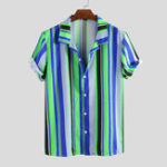 New Mens Summer Colorful Stripe Printed Casaul Shirts